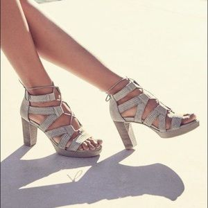 Paul Green Hana Truffel Braid Lace Up Sandal Heel